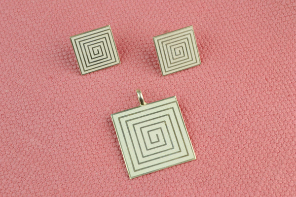Earrings & Pendant Set in Sterling Silver and Enamel
