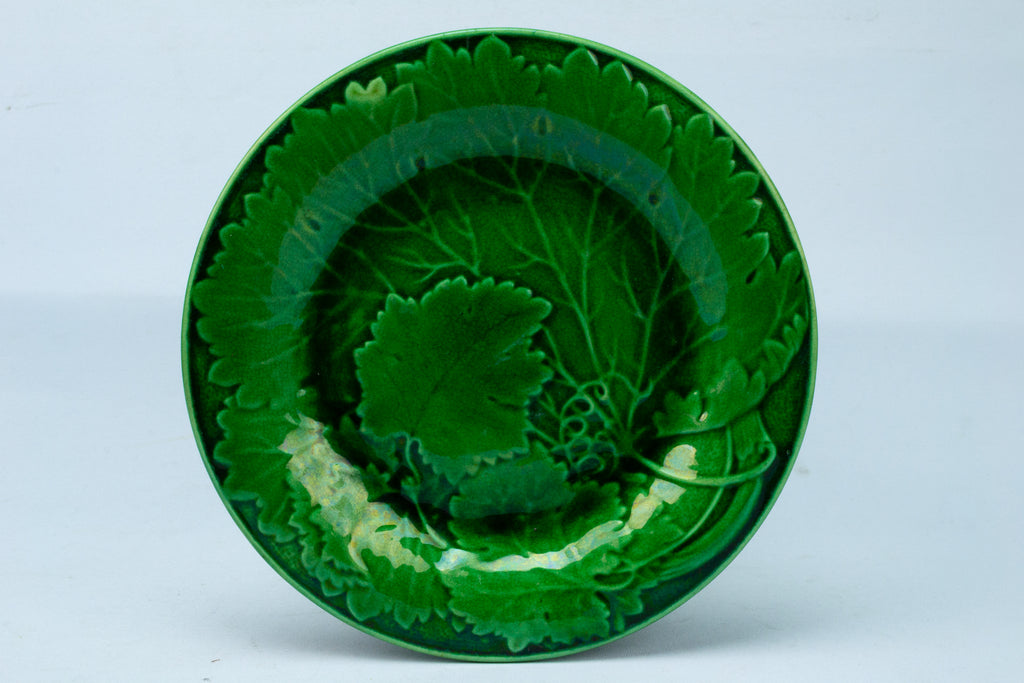 Green Majolica Dessert Plate Antique English 19th Century