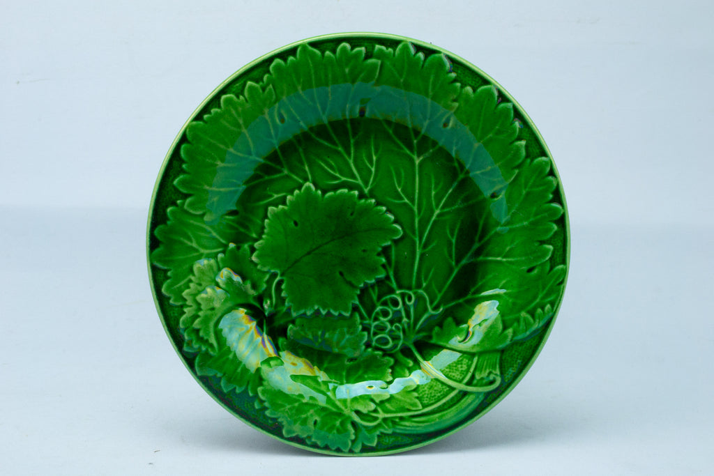 Green Majolica Fruit Plate Antique English 19th Century