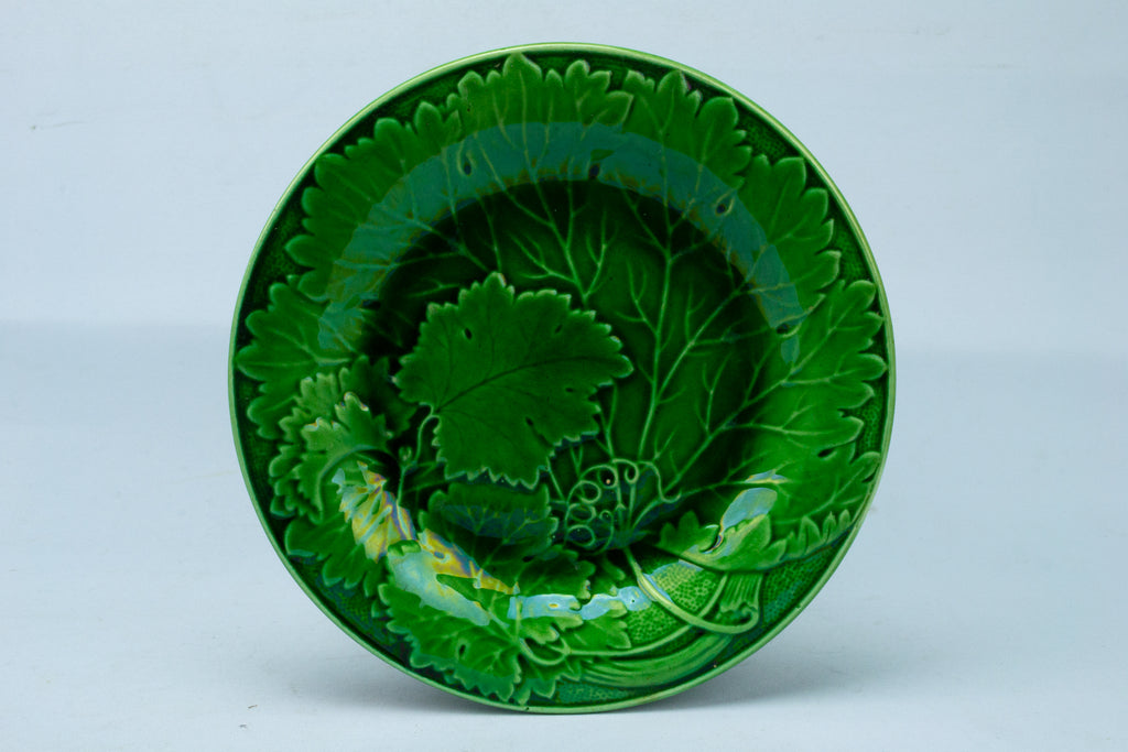 Green Majolica Starter Plate Antique English 19th Century