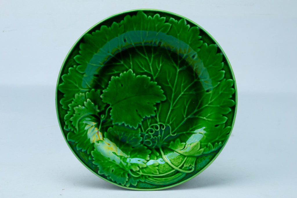 Green Majolica Medium Plate Antique English 19th Century