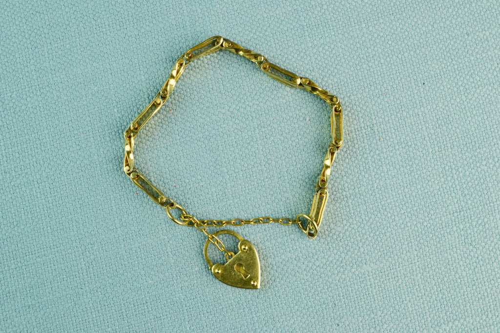 Bracelet with Lock Charm Gold Plated Metal