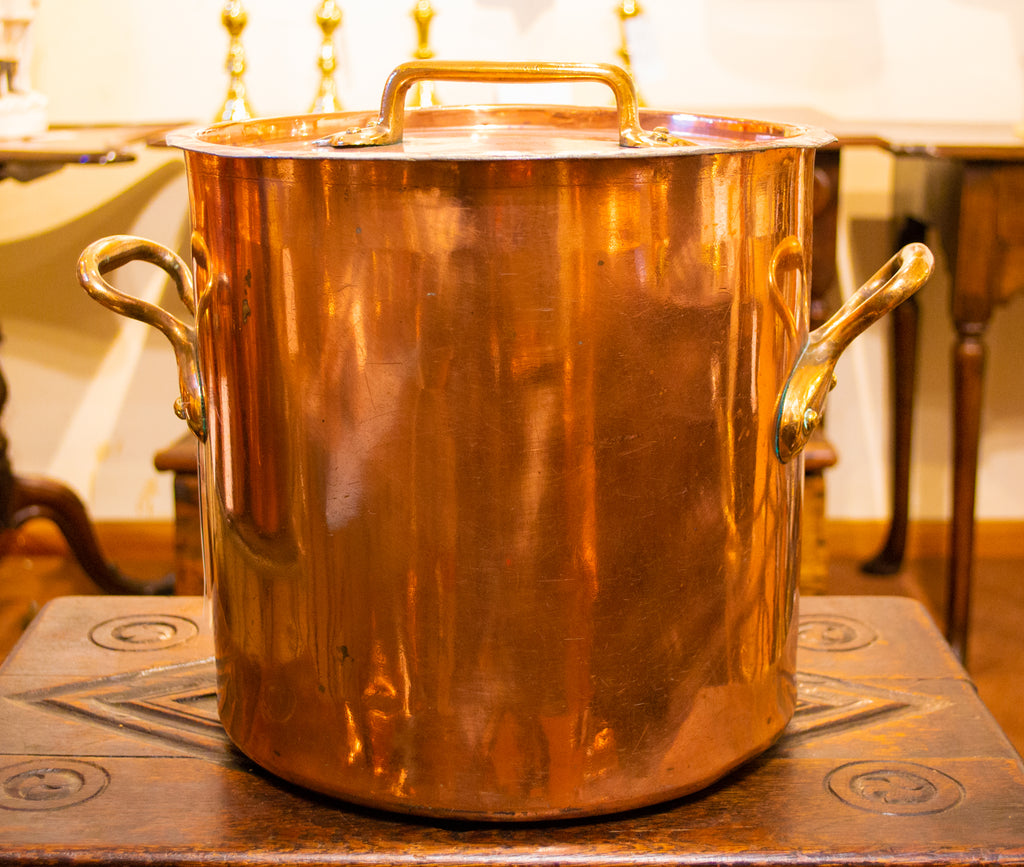 Large Polished Copper Stockpot & Lid 19th Century