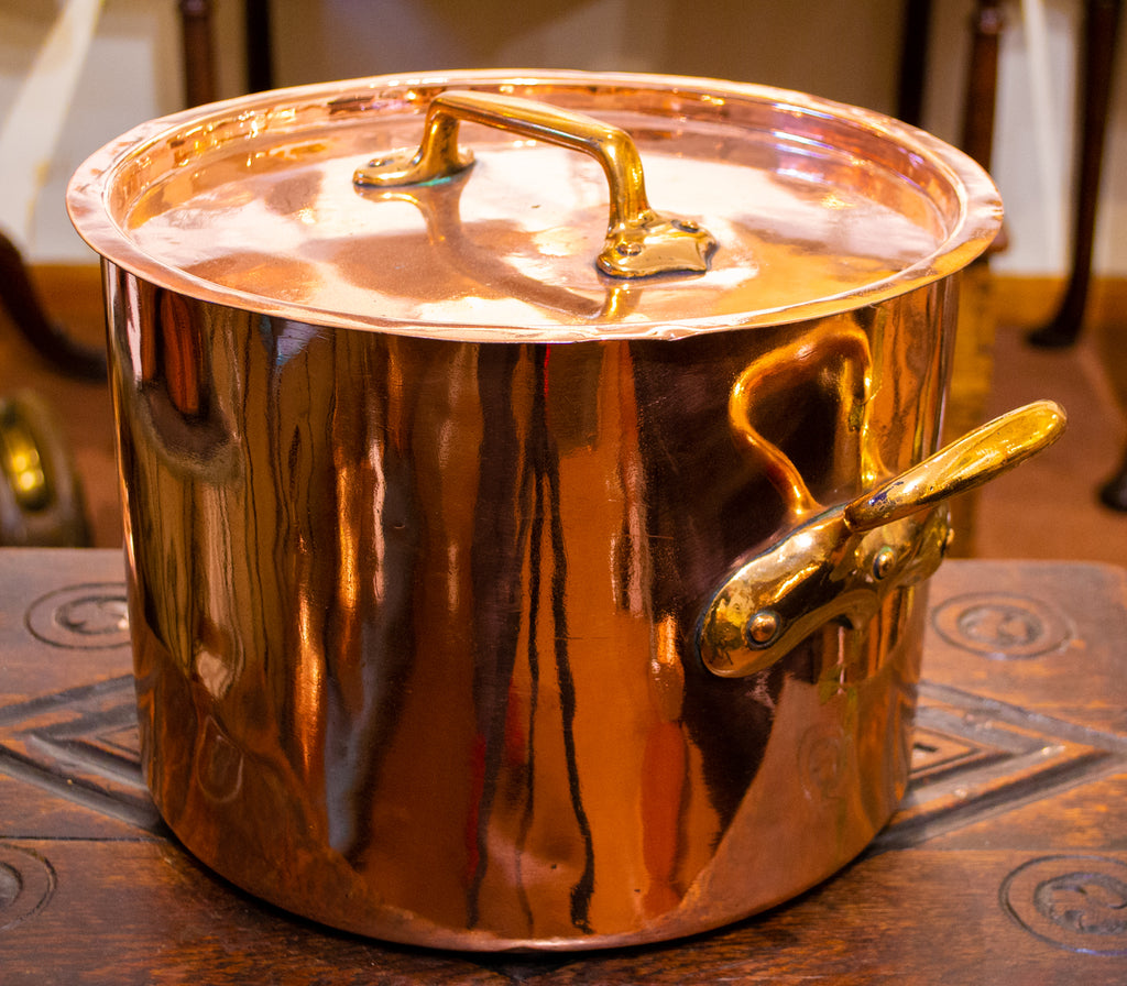 Polished Copper Stockpot & Lid Antique 19th Century