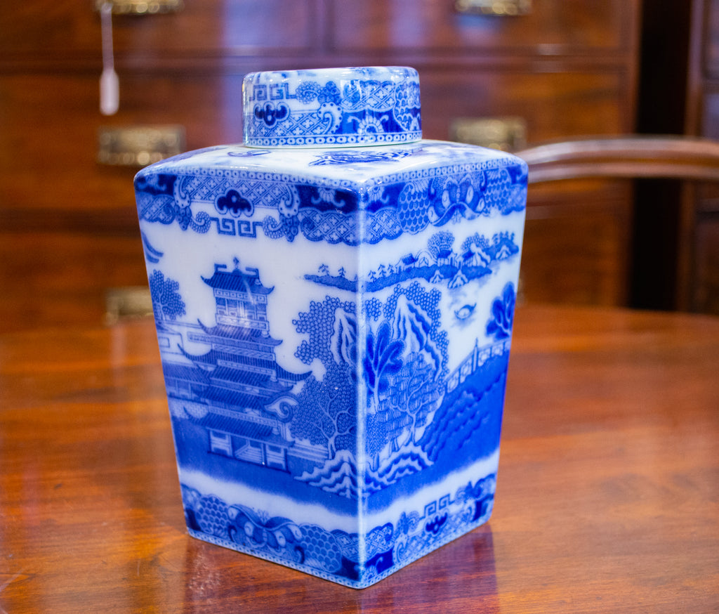 Square Blue & White Ceramic Tea Caddy by Ringtons