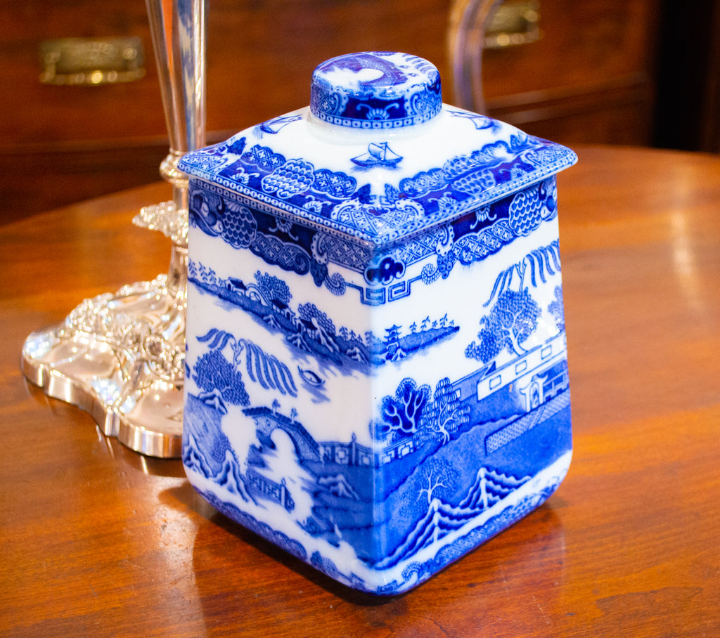 Blue & White Willow Ceramic Tea Caddy by Ringtons