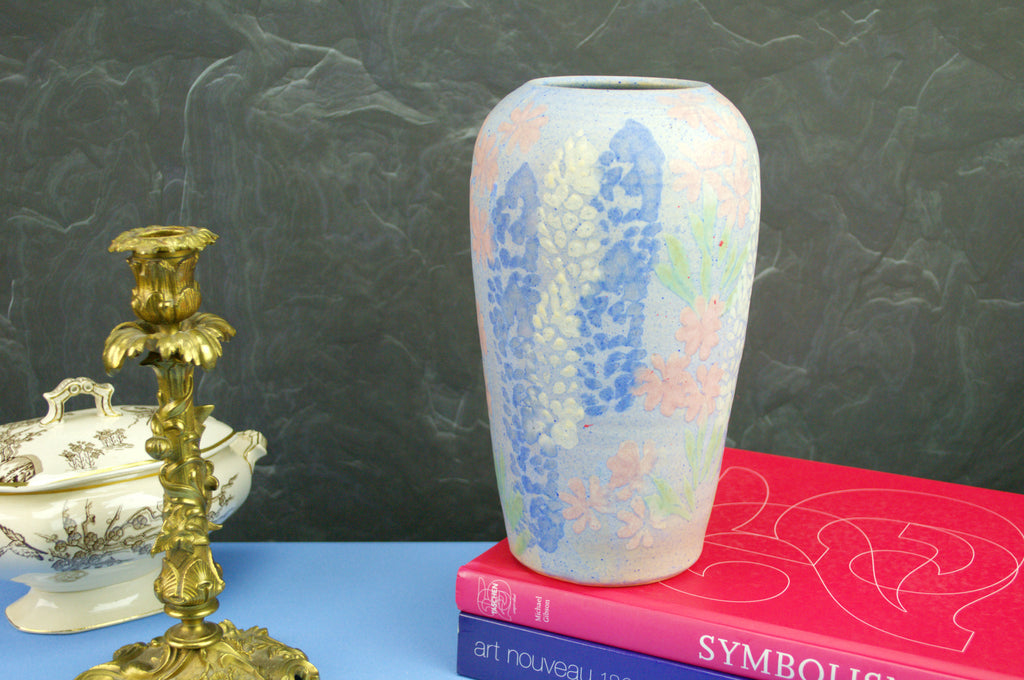 Pastel blue and pink vase