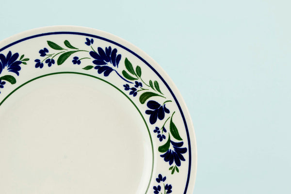 6 small blue Churchill plates
