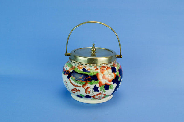 Colourful kitchen storage jar, English late 19th century