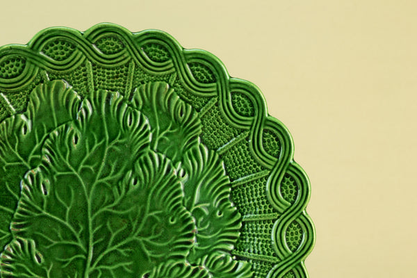 Green majolica serving plate, circa 1900 by Lavish Shoestring