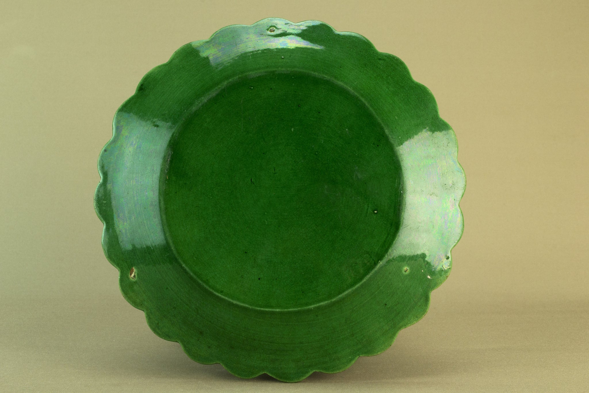 Green majolica serving dish, circa 1900 by Lavish Shoestring
