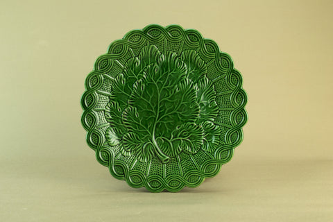 Green majolica serving dish, circa 1900