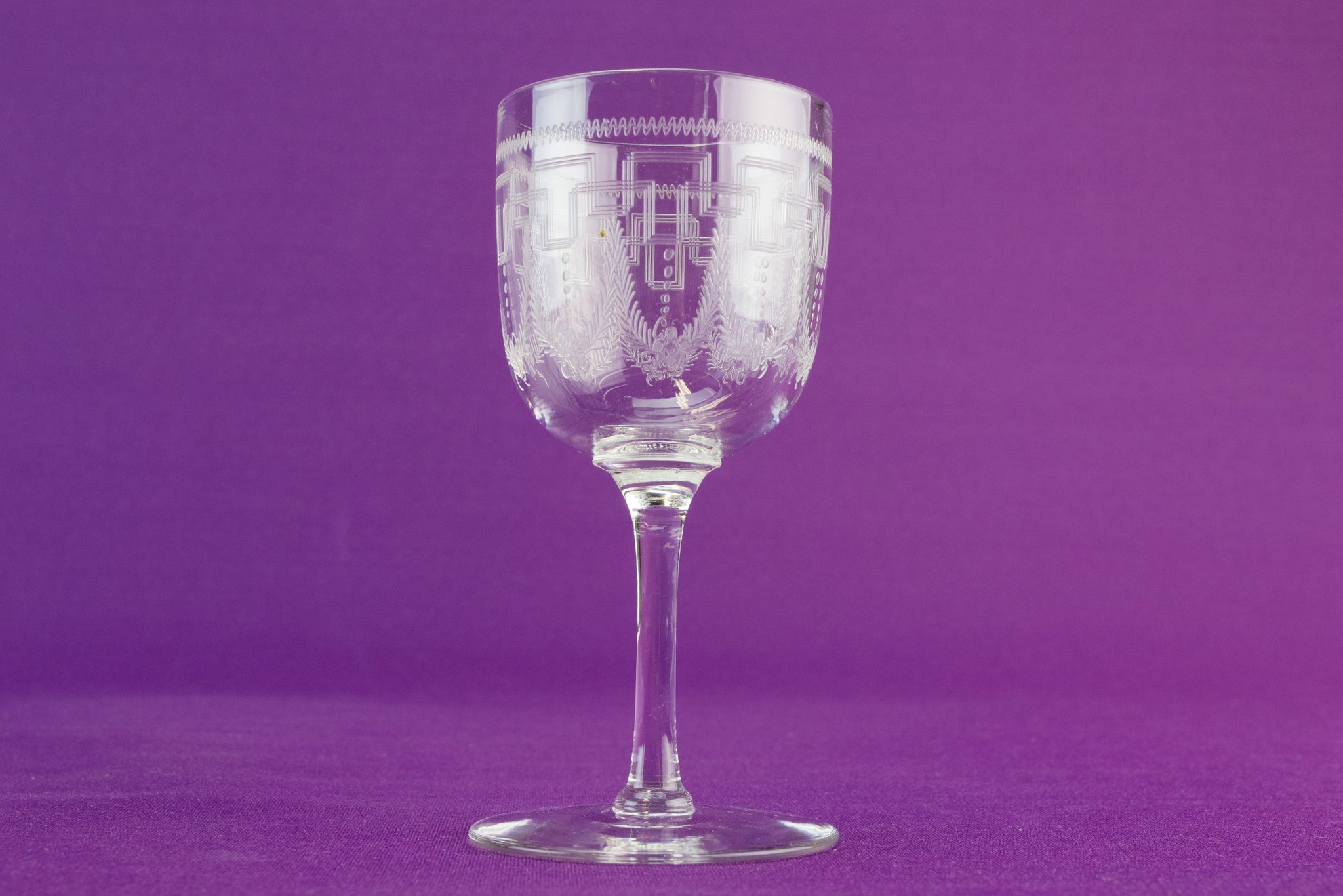 6 Greek key port glass, circa 1910 by Lavish Shoestring