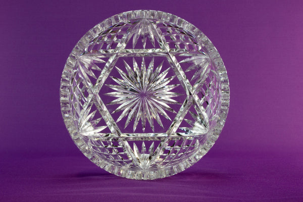 Heavy cut glass fruit bowl, 1970s by Lavish Shoestring