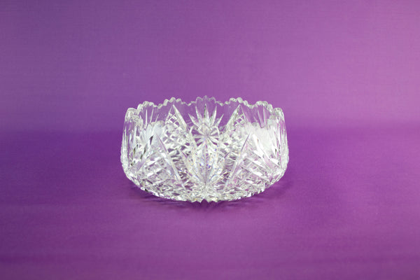 Heavy cut glass fruit bowl, 1970s