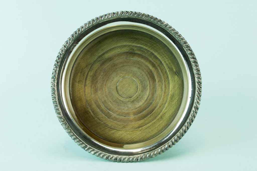 Silver plated bottle coaster, circa 1930 by Lavish Shoestring