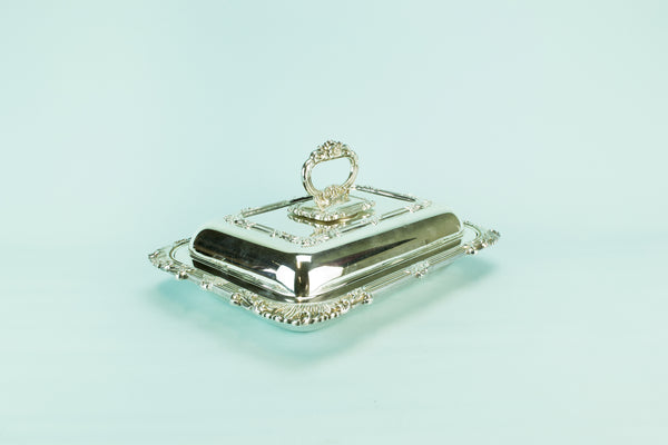 Silver plated serving dish & lid, 1930s
