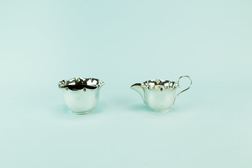 Silver plated milk & sugar set, 1930s