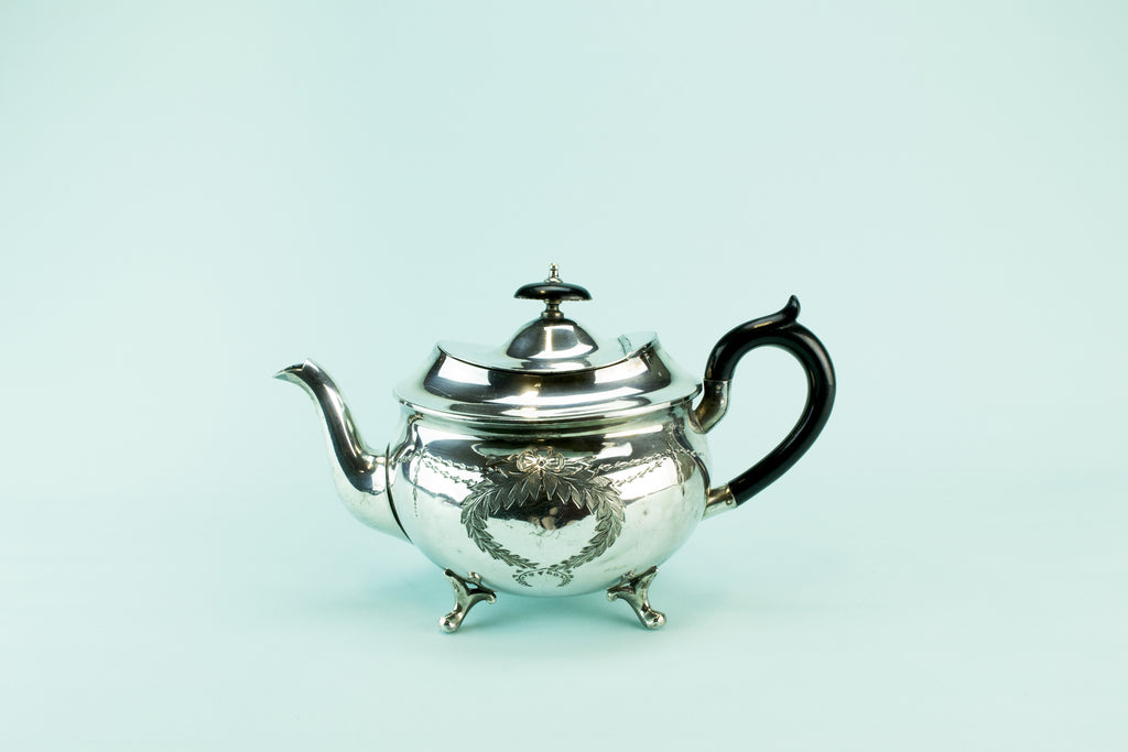 Silver plated bombe teapot, late 19th c