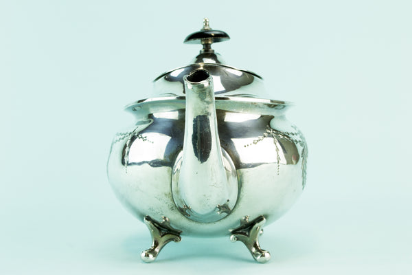 Silver plated bombe teapot, late 19th c by Lavish Shoestring