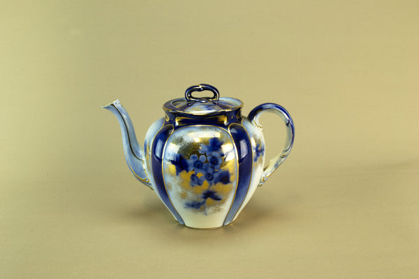 Flow blue teapot, circa 1890