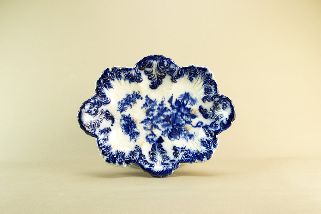 Flow blue serving bowl, late 19th c