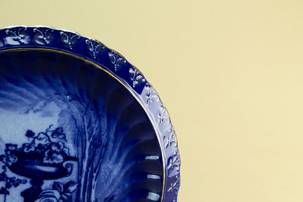 Flow blue cheese platter, late 19th c by Lavish Shoestring