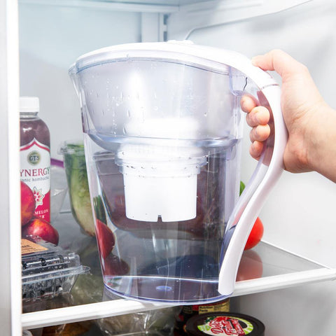 Image of AquaBliss Longest Lasting 10-Cup Water Pitcher – Filter Out 2 Times More Harmful Chemicals, Contaminates and Sediment - White