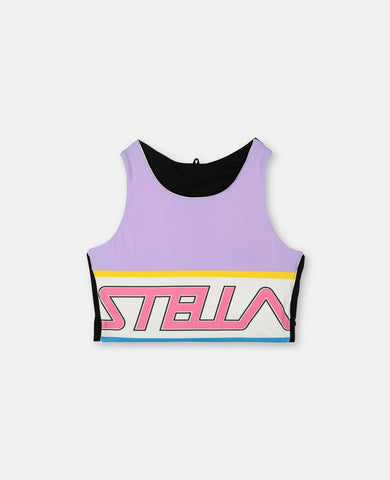 Sport Crop Top with Logo Print Violet