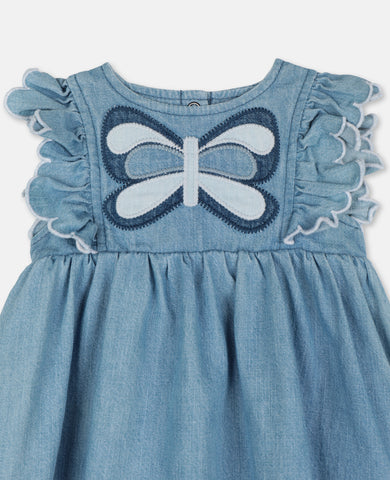 Denim Dress with Butterfly Patch Medium Blue - Zirkuss