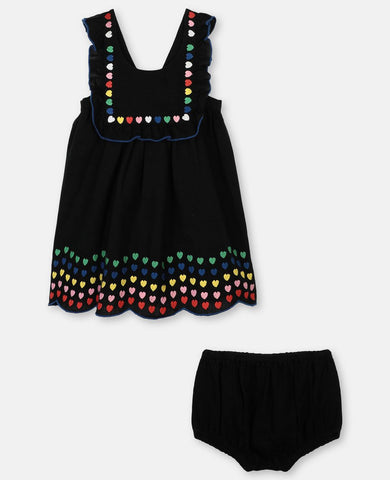 Hearts Embroidery Baby Linen Dress Deep Black