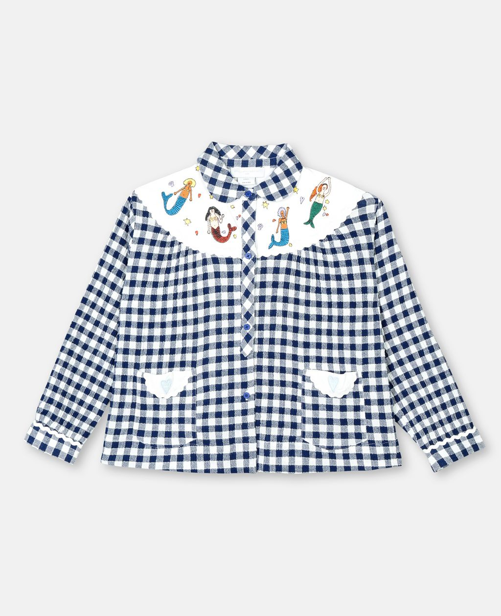 Mermaids Vichy Shirt Airforce Stella McCartney Kids | Zirkuss