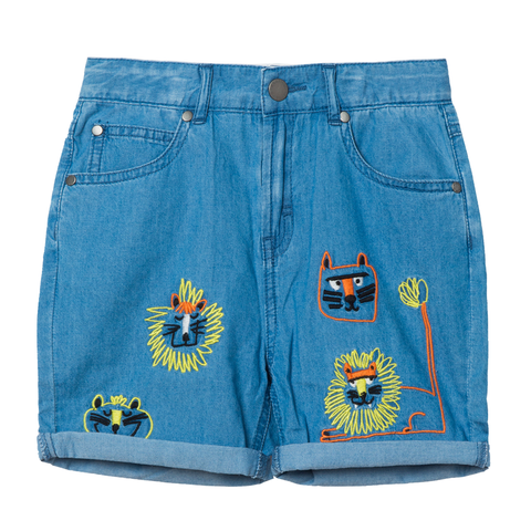 Medium Blue Chambray Shorts Wild Cats Embroidery (no beschreibung) - Zirkuss