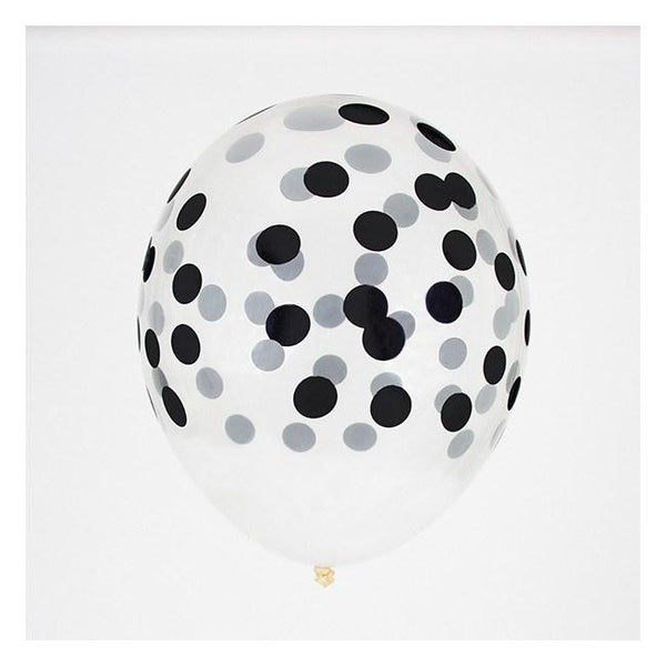 8-12 Jahre, 8-12 Years - My Little Day 5 Printed Confetti Balloons Black