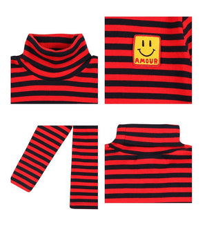 Turtleneck striped red&navy Jelly Mallow | Zirkuss