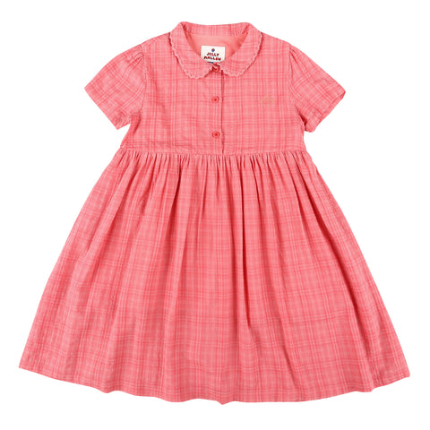 Checked Summer Dress Cherry Pink