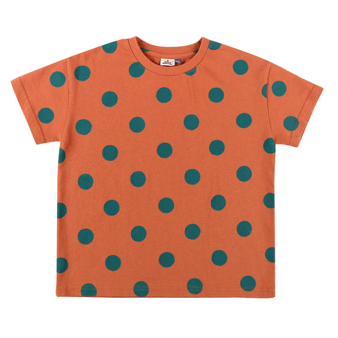 Dotted Short Sleeve T-shirt Brick Red