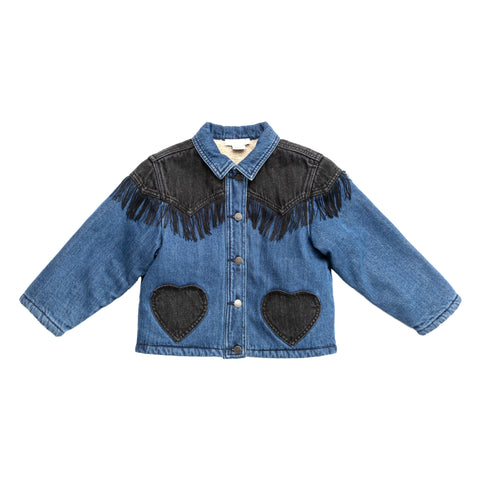 Jackets - Denim Jacket Bicolor Fringe Shady Blue