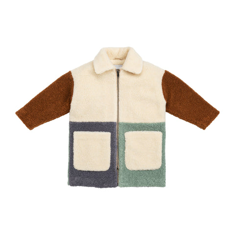 Jackets - Teddy Bear Coat Patchwork Sand