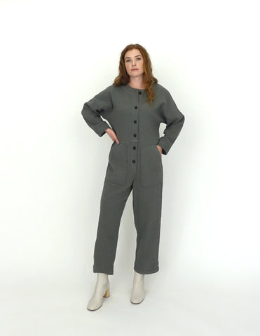 Manon Woman Quilted Jumpsuit Carbon - Zirkuss