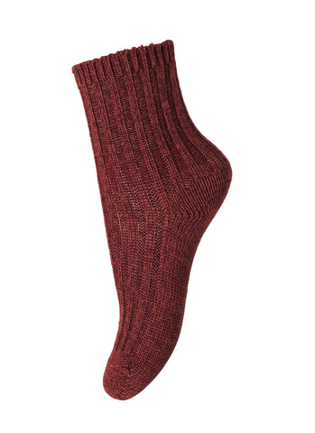 Mädchen, Girls - Ankle Socks Atlas Wool/Cotton Bordeaux