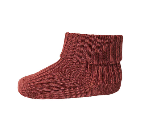 Mädchen, Girls - Ankle Socks Wool Rib Turn Down Bordeaux