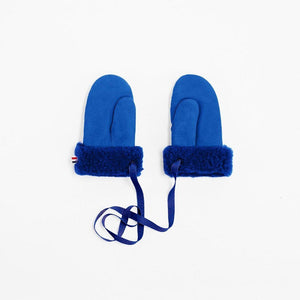 Mädchen, Girls - Gloves Sheepskin Blue