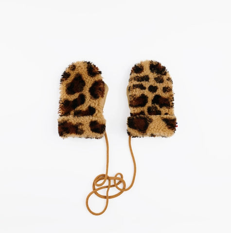 Mädchen, Girls - Gloves Teddy Sheepskin Leopard