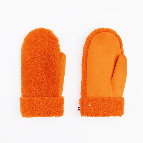 Mädchen, Girls - Gloves Teddy Sheepskin Orange