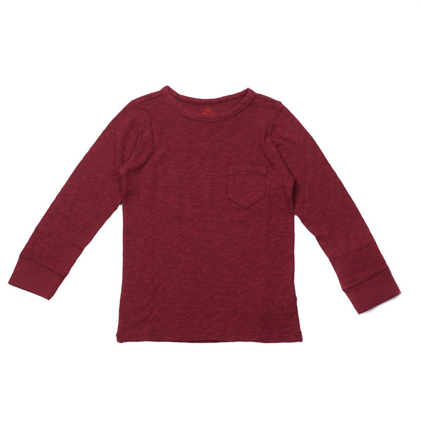 Mädchen, Girls - Shirt Long Sleeves With Pocket Ruby