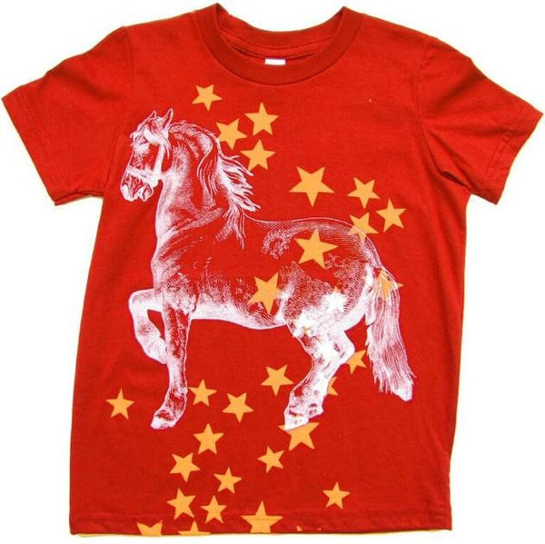 Mädchen, Girls - Lucky Fish T-Shirt Circus Horse Rot
