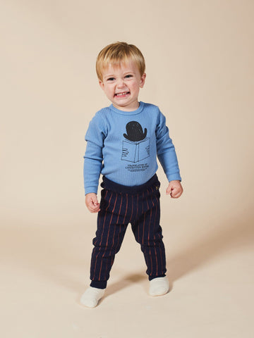 Pants - Vertical Stripes Knitted Baby Leggings Blue Indigo