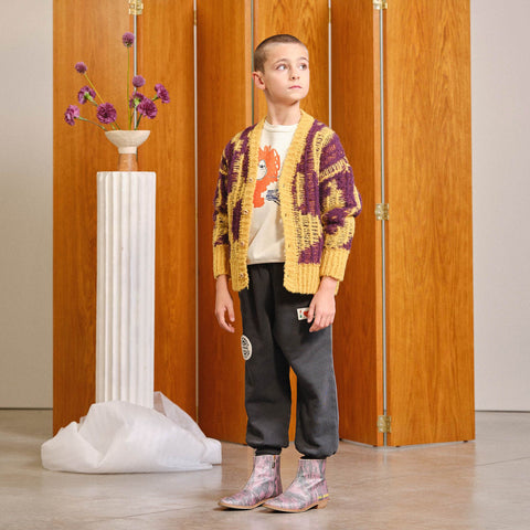Tops - Arty Racoon Kids Cardigan Yellow