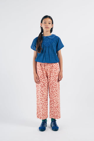 Embroidery Short Sleeve Blouse Azure Blue Bobo Choses | Zirkuss